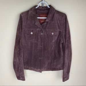 Eddie Bauer Leather Coat Jacket Plum Purple Small